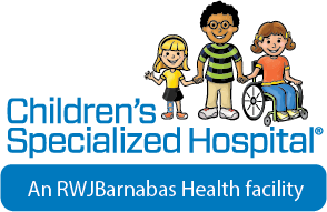 Children's Specialized Hospital logo - 2 children standing and one child in a wheelchair