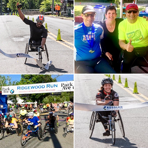 Photo collage of racers at wheelchair 10K