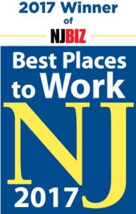 NJBIZ Best Places to Work NJ 2017 Logo, Blue and Yellow