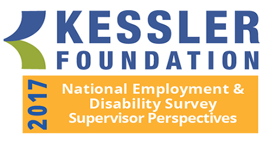 2017 Kessler Foundation National Employment and Disability Survey: Supervisor Perspectives logo - blue, green, and orange colors in logo
