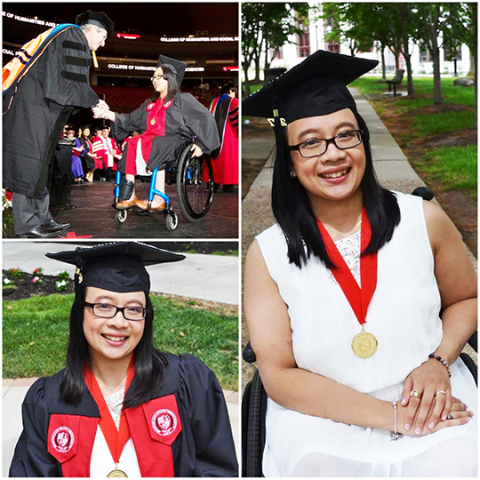 Collage of photos of a woman college graduate in a wheelchair