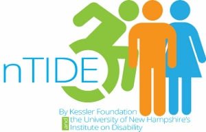 nTIDE logo featuring green figure pushing a wheelchair, mango figure of a woman standing, and blue figure of a man standing. Kessler Foundation and the University of New Hampshire Institute on Disability are listed on the bottom.