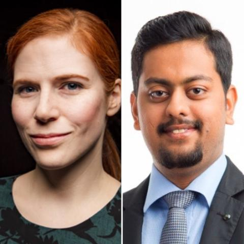 Head-shot of Drs. Katie Lancaster and Vikram Shenoy Handiru