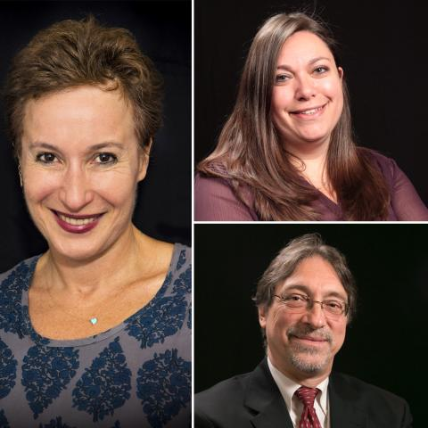 Photo collage of Kessler Foundation researchers standing against a black background