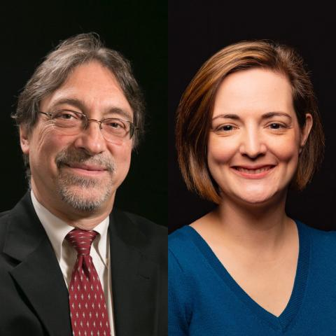 Photo collage of Drs. John DeLuca and Helen Genova against a black background
