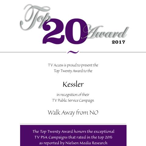 Top 20 Award of 2017, Presented to Kessler Foundation by TV Access
