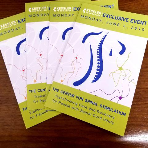 Photo of pamphlet for Kessler Foundation spinal stimulation event