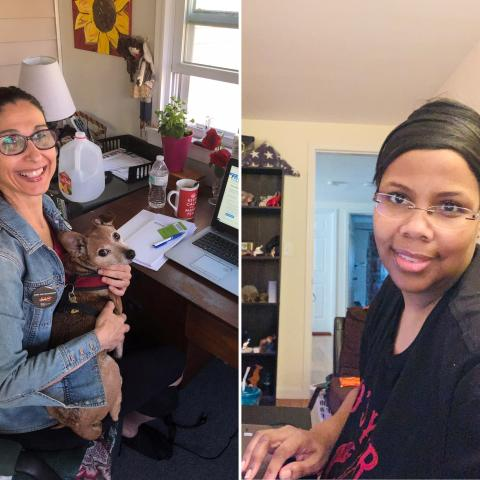 Carla Basante and Michaele Clayborne-Crosby working from home