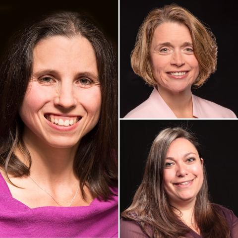 Head-shot against a black background of Drs. Denise Krch, Nancy Chiaravalloti and Erica Weber