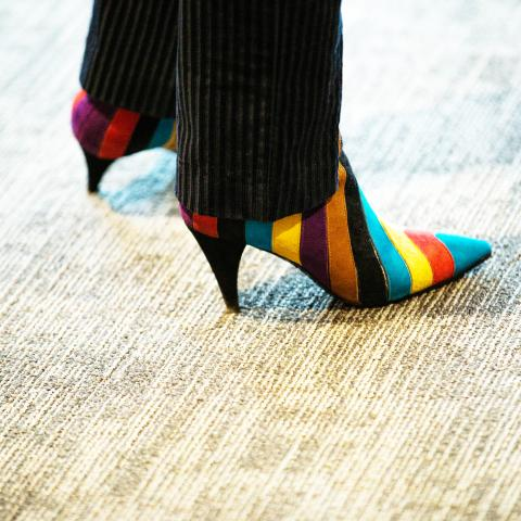 A striped colorful pair of shoes