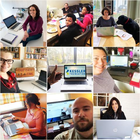 Collage of Kessler staff working from home