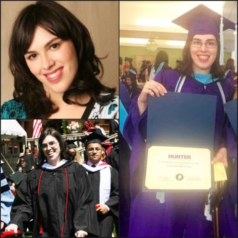 Collage of photos of a woman in different scenes, some she's wearing a cap and gown