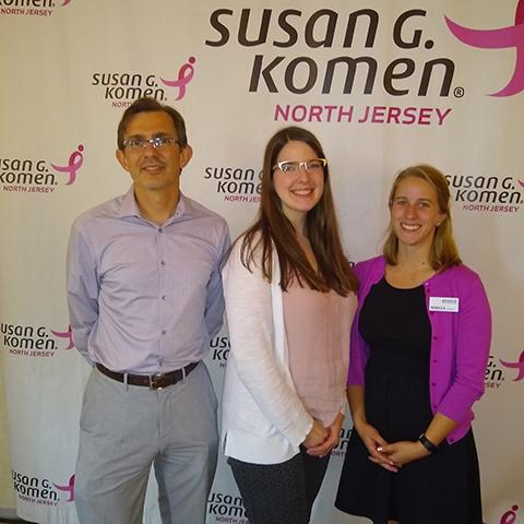 Didier Allexandre (L.), PhD, research scientist, and Rebecca Finnegan (R.), research assistant, both from the Center for Mobility and Rehabilitation Engineering Research, and Samantha Schmidt (C.), research recruitment specialist, attended from the Foundation.