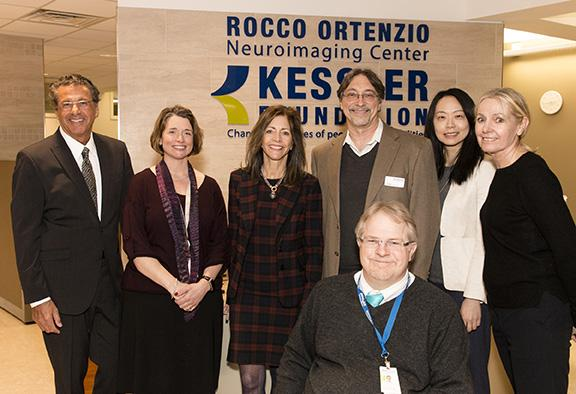First Lady of NJ posing with Kessler Foundation scientists while Visiting rocco ortenzio neuroimaging center