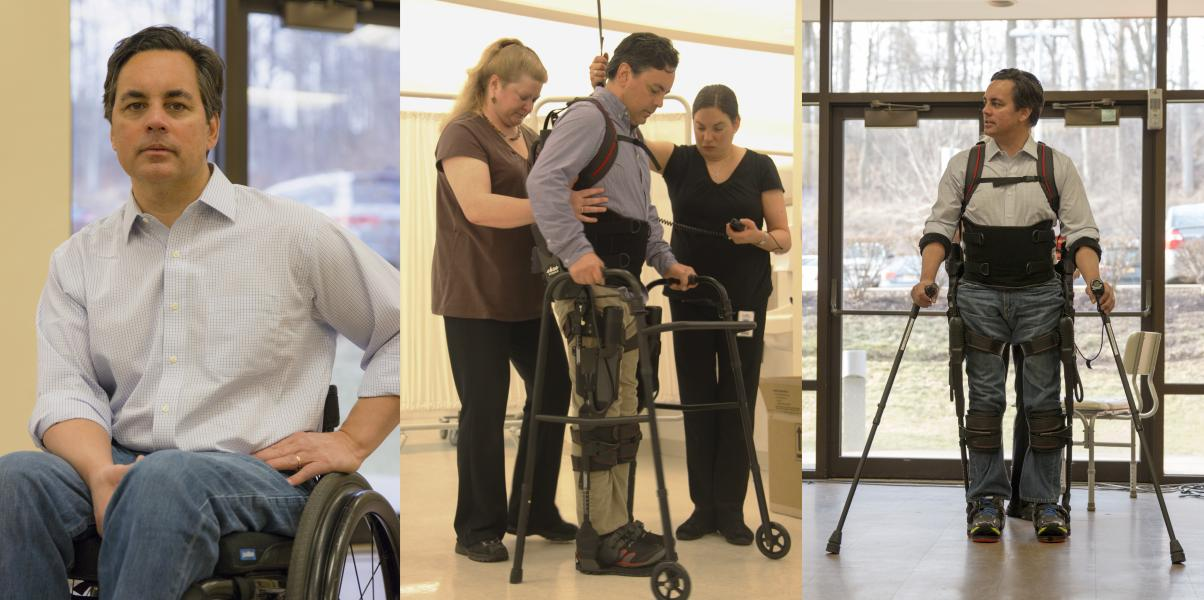 Chris Tagatac in a wheelchair, using ekso with the support of a walker, and finally walking in the ekso alone